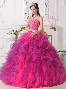 Hot Pink and Lavender Organza Quinceanera Gown Dresses Appliques