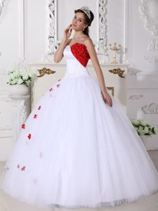 Denver CO White and Red Tulle Quinceanera Gown with Appliques