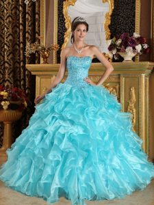 Colorado Springs CO Beaded and Ruffled Aqua Blue Quinceanera Gown