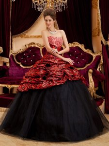 Woodland Hills CA Beaded Red and Black Quince Gown Zebra Print