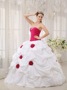 Hot Pink and White Quinceanera Dresses with Beading and Flowers