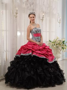 Pick ups and Ruffles Accent Hot Pink and Black Quince Gown Zebra