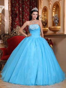 Appliqued and Beaded Baby Blue Organza Sweet Sixteen Dresses