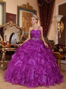 Purple One Shoulder Sweet 15 Dresses with Beading and Ruffles
