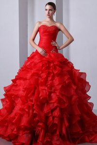 Van Nuys CA Red Sweet 15 Dresses with Beading and Puffy Ruffles