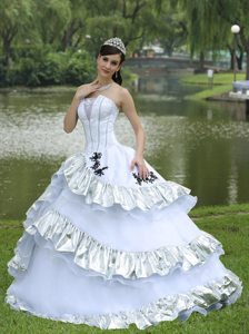 Universal City CA Appliqued White and Silver Dress for Quinceanera