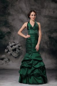 Mermaid Halter Dark Green Pick Ups Dress for Prom Online