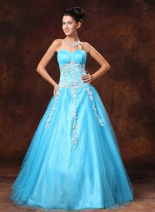 A-line Sweetheart Appliqued Beaded Baby Blue Prom Dresses