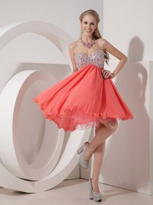 2014 Rust Red Beaded Mini Prom Cocktail Dress On Discount