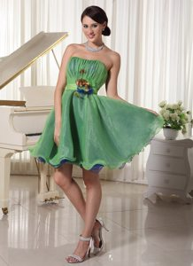Green Ruched Flowers Mini Prom Holiday Dress for Wholesale