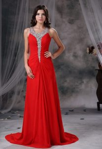 Scoop Neck Brush Train Rhinestones Red Prom Dressed 2014
