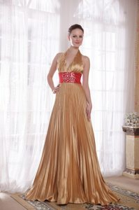 Backless Halter top Pleated Gold Prom Dress with Rhinestones