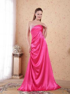 Taffeta Hot Pink Beaded Ruched Sweetheart Long Prom Dresses