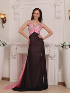 Popular Straps Brush Train Beaded Prom Dress Pink and Black