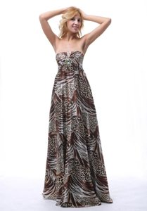 inexpensive Multi-Color Animal Print Strapless Prom Dresses