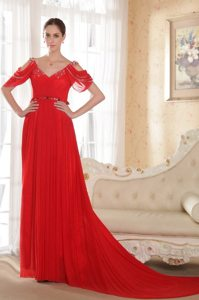 Best V-neck Open Sleeves Red Chapel Train Dress for Prom