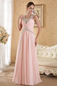 Court Train Pink Rhinestones Ruched Prom Dress for Wholesale