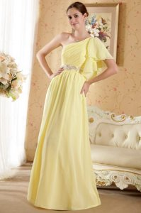 Wholesale One Shoulder Beaded Yellow Long Prom Dresses