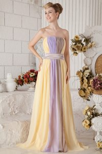 Exclusive Multi-Color Ruched Brush Train Prom Gown Dress
