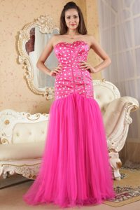 Necessary Hot Pink Prom Dress for Girls with Rhinestones