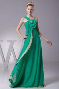 Asymmetrical Neck Flower Ruched Turquoise Prom Dresses