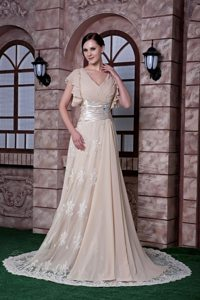 V-neck Ruched Cap Sleeves Champagne Long Prom Dresses