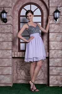 Knee-length Spaghetti Straps Chiffon Sequins Lilac Prom Dress