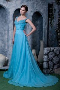 Backless Aqua Blue Beaded Prom Dress for Girls around 150