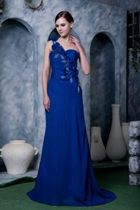 Elegant One Shoulder Flowers Beaded Dress for Prom Under 150