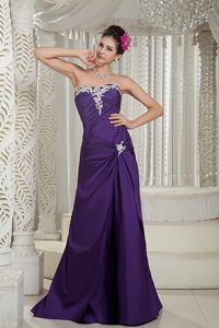 Popular Appliqued Purple Strapless Prom Dress in Lincolnshire