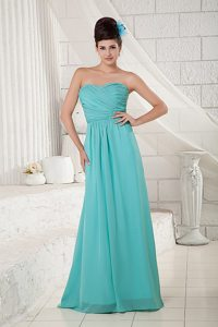 Showy Turquoise Sweetheart Ruched Long Prom Dresses 2013