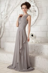 Cheap V-neck Ruched Beaded Gray Brush Train Dress for Prom