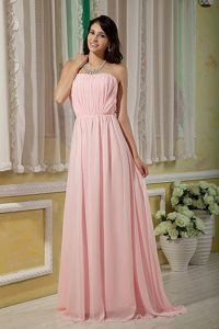 Modernistic Empire Brush Train Ruched Baby Pink Prom Dress
