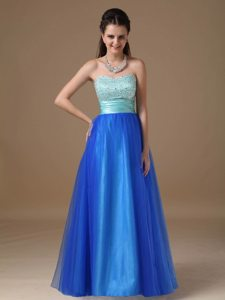 Beaded and Ruched Bodice Blue A-line Prom Nightclub Dresses 2014