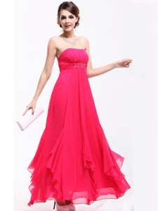 Custom Designed A-line Dress for Prom Hot Pink Strapless Chiffon Sleeveless Ankle Length Zipper