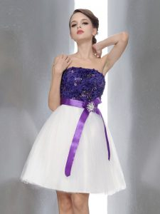 Sleeveless Zipper Knee Length Beading and Sashes|ribbons Prom Party Dress