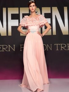 Beading Prom Evening Gown Baby Pink Side Zipper Short Sleeves Floor Length