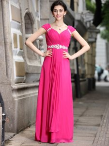 Glorious Hot Pink Sleeveless Beading Floor Length Evening Dress