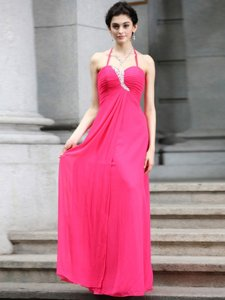 Colorful Baby Pink Sleeveless Chiffon Zipper Prom Dresses for Prom and Party