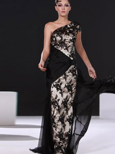One Shoulder Black Cap Sleeves Chiffon Brush Train Side Zipper Prom Evening Gown for Prom and Party