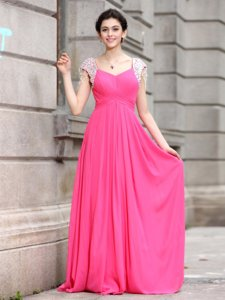 V-neck Cap Sleeves Zipper Prom Gown Hot Pink Silk Like Satin