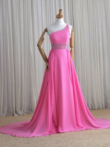 Best Rose Pink Column/Sheath One Shoulder Sleeveless Chiffon Brush Train Lace Up Beading Prom Evening Gown