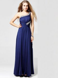 One Shoulder Blue Sleeveless Ankle Length Beading and Ruching Side Zipper Dress for Prom