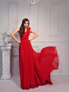 Top Selling One Shoulder Sleeveless Silk Like Satin With Train Court Train Lace Up Evening Dress in Red for with Hand Made Flower