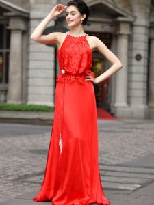 Coral Red Silk Like Satin Zipper Scoop Sleeveless Floor Length Dress for Prom Beading and Appliques