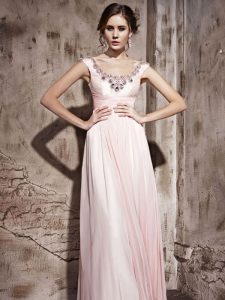 Dynamic Scoop Baby Pink Backless Dress for Prom Beading Sleeveless Floor Length