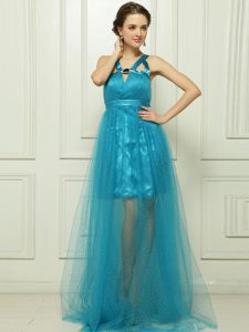 Decent Halter Top Teal Sleeveless Brush Train Belt With Train Prom Party Dress