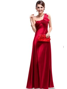 Low Price Wine Red Evening Dress Prom and Party and For with Ruching One Shoulder Sleeveless Criss Cross