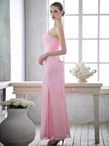 Fashionable Baby Pink Column/Sheath One Shoulder Sleeveless Chiffon Ankle Length Lace Up Ruching and Hand Made Flower Homecoming Dress