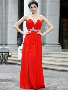 Coral Red Zipper Strapless Beading Prom Dress Silk Like Satin Sleeveless